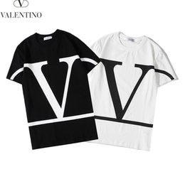 Wholesale short big for sale – custom 2020 new high grade cotton brand letter big V short sleeve round neck black and white men s and women s casual T shirt