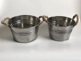 $enCountryForm.capitalKeyWord Australia - D19xH11CM Tin Pot Ice Buckets Large Stainless Steel Pail Metal Planter Storage Holder decorative flower Planters