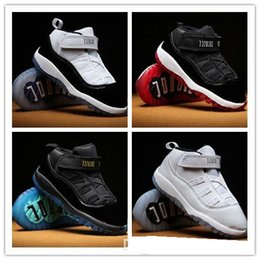 Girls Pre Walker Shoes Australia - Baby kid 11 XI Space Jam Shoes Little Baby Boys Girls Toddlers 11s Gamma Concord Bred Pre-Walkers Sneaker size 6C-10C