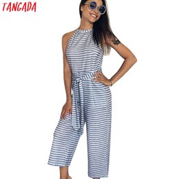 Fitted Jumpsuits Australia - Tangada Fashion Women Striped Print Halter Jumpsuits Sleeveless Pocket With Belt Casual Brand Female Fit Rompers Aon33 Y19060501