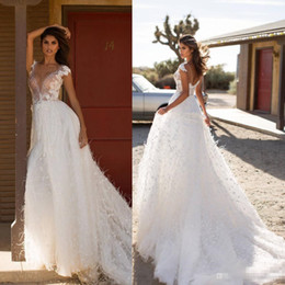 Feather Cap Sleeves Australia - Milla Nova 2019 A Line Feather Wedding Dresses With Cap Sleeve Lace Applique Beaded Bridal Gowns Country Bohemian Beach Wedding Dress