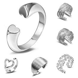 $enCountryForm.capitalKeyWord NZ - Ring Silver Band Rings Hot Selling Charm Finger Rings For Women Girl Party Gift Open Size Fashion Jewelry Wholesale Free Shipping 0010YDH