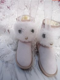 Kawaii Shoes NZ - Exclusive custom kawaii rabbit pink doll Japanese low tube leather shoes cotton shoes snow boots