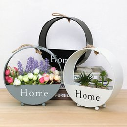$enCountryForm.capitalKeyWord Canada - European Creative Flower Basket Iron Round Wall Hanging Wall Simple Living Room Decoration Storage Box Home Plant Basket