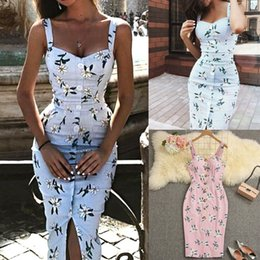 $enCountryForm.capitalKeyWord Australia - Irregular Strap Summer Dress Women Leap Printed Long Maxi Dresses Button Decor Split Vestidos Sexy Beach Boho Dress Femme