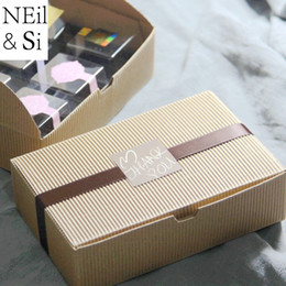 Handmade Wrapping Paper Australia - 50pcs Corrugated Paper Box Bakery Cup Cake Cookies Boxes Food Handmade Soap Macarons Packaging Boxes Brown Red