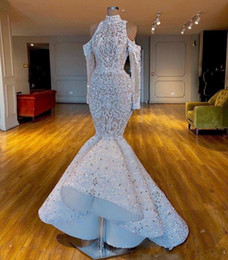 Chinese  Luxurious 2020 Real Images South African Dubai Mermaid Wedding Dresses High Neck Beaded Crystals Bridal Dresses Long Sleeves Wedding Gowns manufacturers