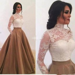 Cheap Sheer Top Prom Dress Australia - Elegant Arabic Prom Dresses With Pockets High Neck Sheer Long Sleeves Top Ivory Lace Applique Cheap Brown Formal Evening Gowns Floor Length