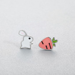 $enCountryForm.capitalKeyWord NZ - Cute Animal Bunny Rabbit Carrot Stud Earrings for Women Enamel Asymmetry Creative Cartoon Ear Jewelry for Child Girls