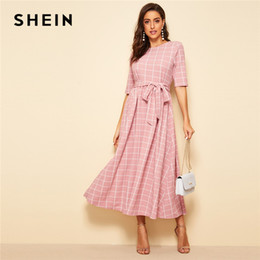 6a197804e9d688 SHEIN Elegant Pink High Waist Belted Fit and Flare Plaid Long Dress Women  Spring Summer Half Sleeve Office Lady Dresses