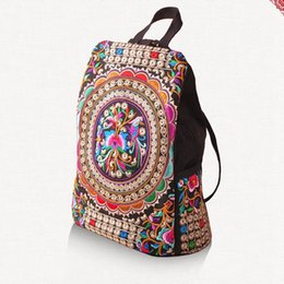 $enCountryForm.capitalKeyWord NZ - omen Handmade Flower Embroidered Travel Bags Schoolbag Backpacks Vintage Embroidery Ethnic Canvas Backpack Rucksack Mochila Women Handmad...