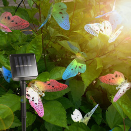 solar butterfly string lights Canada - 12 Leds Butterfly Solar String Lights Multi Colors Solar Power Led Lamp Outdoor Decorative Lighting For Garden Party Christmas