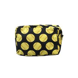 Free Cosmetics NZ - Nylon baseball softball Print cosmetic bag Zipper Make up bags Pillow Toilet Bathing Pouch Travel Women's Travel Cosmetic Bag DHL FREE