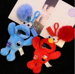 $enCountryForm.capitalKeyWord Canada - sesame Street Keychain Toy Cute Pendant Plush Gift Kawaii Handbag Pompom Decoration plush Keychain toys LJJK1321