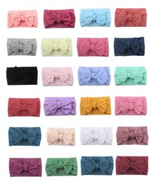 headbands bow Australia - Free DHL 21 Colors Baby Hairband Toddler Bow Hairband Infant Baby Girls Headband Big Knot Turban Kids Hair Accessories INS Wholesale