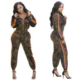 $enCountryForm.capitalKeyWord Australia - Side Rainbow Striped Details Fashion Women Two Pieces Set Long Sleeve Zipper Up Hooded Tops Elastic Waist Skinny Pants Suit Newest