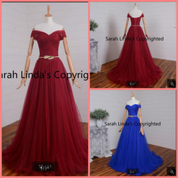 $enCountryForm.capitalKeyWord NZ - Robe de soiree royal blue a line pleated off the shoulder sexy prom dress real picture sweetheart neckline with sashes prom gowns hot sale