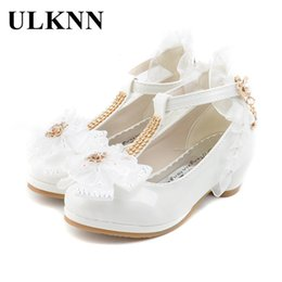 Girls Lace Shoes Australia - Ulknn Children Party Leather Shoes Girls Pu Low Heel Lace Flower Kids Shoes For Girls Single Shoes Dance Dress Shoe White Pink Y19051303