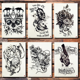 8eef3e10d93b9 Crown Skull Anchor Flower Temporary Tattoo Sticker Rose Pirate Pocket Watch  Heart Black Tattoos Body Art Arm Gun Fake Tatoo