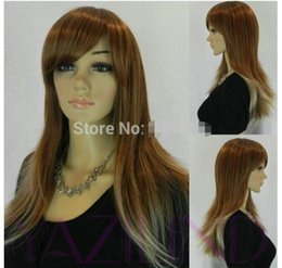 lolita wigs blonde Australia - FREE SHIPPING + + fandy dress wig brown blonde lolita mixed long straight full synthetic wig