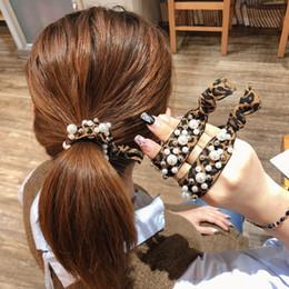 $enCountryForm.capitalKeyWord Australia - Pearl Hairband Leopard Print Elastic Headband Rainbow Nylon Rubber Band Hair Tie For Girls Lady Sweet Sexy Hair Accessories