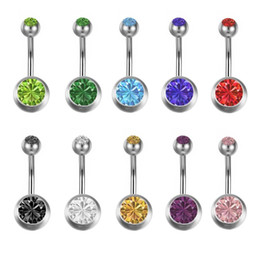 $enCountryForm.capitalKeyWord Australia - 50pcs Crystal Stainless Steel Belly Bar Ring Chic Double Gem Belly Body Jewelry Piercing Unisex Wholesale Bulk