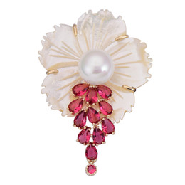 $enCountryForm.capitalKeyWord UK - OBN Luxury Freshwater Natural Shell Flowers Brooch Pin Vintage Pearl dressing party lady brooches With Pink CZ P