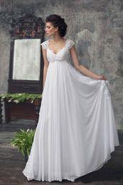 Vestido de novia imperio vestido de la vendimia de la cintura de la playa vestido de novia bodas con cuello redondo de encaje de casquillo del hombro del corsé de gasa vestido de boda del país en venta