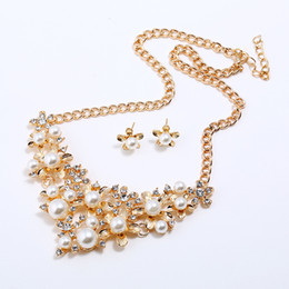 $enCountryForm.capitalKeyWord NZ - Necklace earrings set European and American temperament sweet diamond pearl flower combination bridal dinner dress accessories