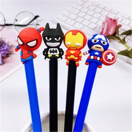 Batman Figure Wholesale Australia - Creative Gel pen Avengers Figures Spiderman Batman Captain America Iron man Pencil Office School Writing Supplies Kids Toys