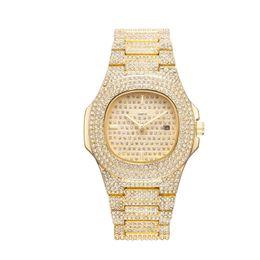 Diamond Bracelet Digital Watch UK - relogio masculino diamond ladies watch fashion black dial calendar gold bracelet folding buckle style ladies 2020 couple gifts