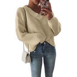 $enCountryForm.capitalKeyWord NZ - 2019 Women Pullovers Tops Autumn Fashion Wool Knitted Sweaters Woman Clothes Women Loose V Neck Woolen Knitwear Solid Streetwear