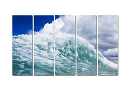 $enCountryForm.capitalKeyWord Australia - Large 5 Panel Modern Beach Canvas Print Surf Ocean Wave Seascape Painting Art Wall Home Decor Picture Contemporary For Living Room ASet145