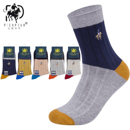 high quality polo wholesale NZ - High Quality Brand PIER POLO Spell Color Socks Fashion Casual Cotton Crew Socks Business Embroidery Autumn Winter Men's Socks