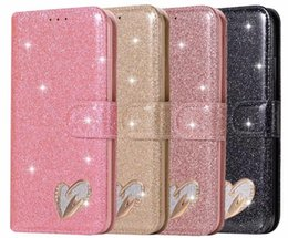 sparkle galaxy note cases 2019 - Heart Love Leather Wallet Case For Galaxy A40 A50 A70 S10 S10e Lite Note9 S9 S8 A6 A7 J6 18 Sparkle Luxury Diamond Bling