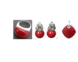 $enCountryForm.capitalKeyWord Australia - Nice red carved marcasite lacquer Silver ring earrings and pendant jewelry sets