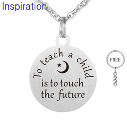 $enCountryForm.capitalKeyWord NZ - Drop Shipping Positive Word Jewelry 30mm Stainless Steel Pendant Necklace Laser Engraved To teach a child is to teach the future