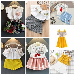 Flowers patchwork online shopping - 7Styles Kids Outfits INS Floral Print Clothing Sets Girls Cotton Chiffon T shirt Skirts Short Pants Kids Summer Beach Suits GGA2347