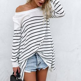 ladies black sweaters Australia - Wholesale-New Autumn Winter Women Fashion Striped Pullover Sweater Office Lady Casual Jumper O-Neck Long Sleeves Female Sweater