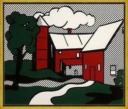 $enCountryForm.capitalKeyWord Australia - Roy Lichtenstein Red Barn,HandPainted &HD Print Pop Wall Art oil Painting On Canvas Museum Quality Home Decor Multi Sizes R15.18