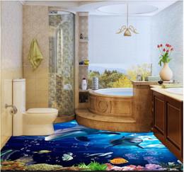 Decorative Bedroom Paintings Australia - 3D pvc flooring waterproof self-adhesive 3d wall murals wallpaper Ocean World Bathroom Bedroom Kitchen 3D Floor Decorative Painting