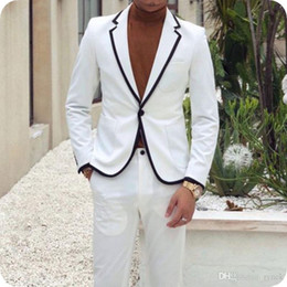 Designer Grooms Tuxedo Australia - Custom Made White Men Suits Groom Wedding Tuxedos Best Man Blazers Designer Jacket Pants 2Piece Slim Terno Masculino Costume Homme Mariage