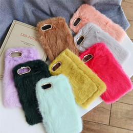 bling bow cases UK - Genuine Rabbit Hair Soft TPU Case For iPhone XS Max XR X 8 7 6 Animal Bling Diamond Fluffy Fur Bow Cover Cute Lovely Fashion Luxury Skin