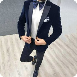 $enCountryForm.capitalKeyWord NZ - Blue Smoking Jacket Man Suits Pants Man African Attire Groom Tuxedo Terno Masculino Male Blazer Wear Homecoming Party 2Piece Costume Homme