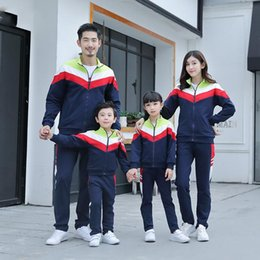kids tracksuits sport suits NZ - Mother Father Kids Boy Girls Coat + Pants Suits Mom Dad Daughter Son Sports Clothing Sets 2020 Kids Tracksuit Family Match Outfits S630