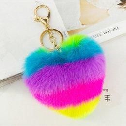 Heart Shaped Handbags Wholesale Australia - Heart Shape Colorful Fluffy Fur Pompom Keychain Faux Rabbit Rex Fur Pompom Balls Key Chains Car Handbag Pendant Women Jewelry