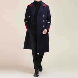 Korean Fashion Herbst Winter Neue Männer Jugend England woolen dünne Kaschmir Windjacke lange Blazer Kontrastfarbe Wollmantel Gezeiten männlich Jacken im Angebot