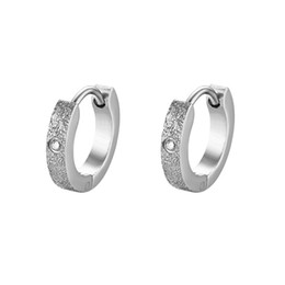 91012e0d592 new mens earrings 2019 - BONISKISS New Fashion Mens Hoop Earring Bijoux  Frosted Rhinestone Stainless Steel
