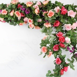Wholesale 9 Flowers Flowers Flowers Artificial Rose Flower Vines Wedding Decor Rose Flower Rattan String Garden Hanging Garland Silk Flower