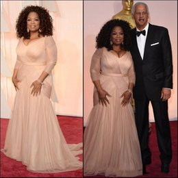 ElEgant cElEbritiEs chiffon drEss online shopping - 2019 Elegant Oprah Winfrey Celebrity Evening Dresses plus size v neck sheath chiffon with long sleeves mother of bride groom dresses